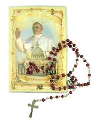 Rose Scented Wood Prayer Bead Pope Francis Rosary With Booklet, 17 Inch