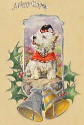 West Highland Terrier Dog  F. VALTER 30's New LARGE Blank CHRISTMAS Note Cards