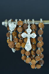 19thc Rare French Hand Rosary Carved Corozo Sterling Silver Napoleon Iii