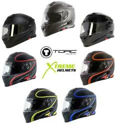 Torc T28 T28b Helmet Bluetooth Or Without - Flip Up Modular Inner Sun Shield Dot