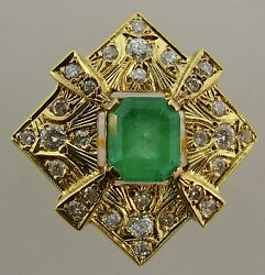 Fabulous Russian 14k Yellow Gold Ring With Diamonds And Emerald