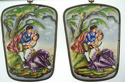 Capodimonte Porcelain 2 Picture Set Lovers With Flowers C.1950 Gorgeous