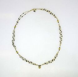 18k Yellow Gold Chain Necklace With Black 6c Diamonds And Hanging Pendant