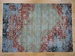 9and039x12and03910 Modern Broken Pattern Transitional Design Hand Knotted Oriental G41302