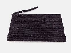 Black Evening Bag Clutch Purse Beaded Zip Top Wedding Prom 8.5 By 5 Inches $24.99