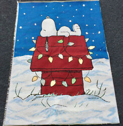 Peanuts Snoopy Christmas Crafters Unfinished Tapestry Fabric Remnant