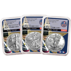 2016 17 18-w Burnished American Silver Eagle 3pc Set Ngc Ms70 West Point Core