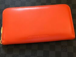 Brand NEW Genuine Porsche Design Coin Purse Wallet ORANGE Leather very RARE