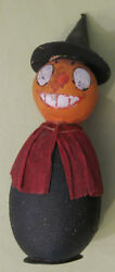 1910's German Halloween Pumpkin Head With With Hat Candy Container
