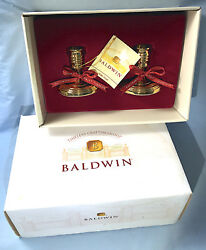 Pair Of  Baldwin Polished Brass Candle Holders  In Original Presentation Box