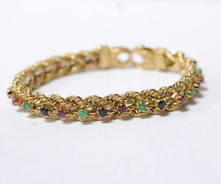 14k Yellow Gold Braided Rope Bracelet Ruby Sapphire Emerald Ruby Lobster Clasp