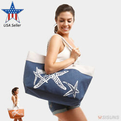 Beach Bags Large Summer Tote Bags with Zipper Closure Shoulder Bag For Women $13.99