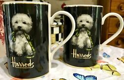 Pair Harrod's Knightsbridge London Westie West Highland Terrier Mugs Cups