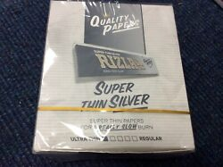 Box Of 50 Booklets Silver Rizla Kingsize Super Thin Cigarette Papers Andpound16.29