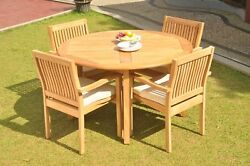 A-grade Teak 5pc Dining 52 Round Table 4 Leveb Stacking Arm Chair Set Outdoor