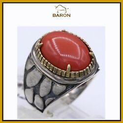 Coral Ring Sterling Silver And Gold Hand Made Artisan Cocktail Ring Size 6.25