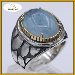 Aquamarine Ring Sterling Silver And Gold Hand Made Artisan Cocktail Ring Size 6
