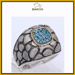 Blue Topzaz Ring Sterling Silver And Gold Hand Made Artisan Cocktail Ring Size 7.5