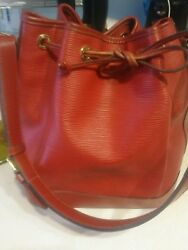 Authentic LOUIS VUITTON Large Noe Red Epi Leather Drawstring Bucket Bag