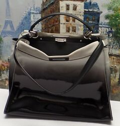 Fendi 'Large Peekaboo' Ombre Patent Leather & Suede Tote - $4850