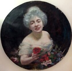 SHMUEL HIRSHENBERG (1865-1908), Oil on Canvas, Elegant Woman With Roses, Signed