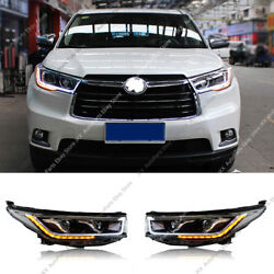 Led Drl Headlight Hid Signal Stripe High And Low Beam For Toyota Highlander 14-16