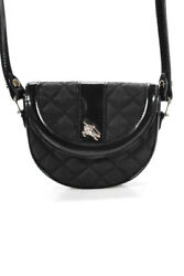 Burberry Black Quilted Round Button Closure Women's Small Sized Clutch Handbag