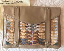 New Lizzie Fortunato Western Navajo Tan Leather Embroidery Bag Clutch/ipad Case