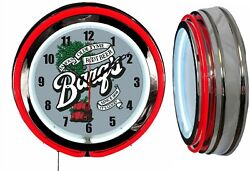 Barqand039s Root Beer 19 Double Neon Clock Red Neon Man Cave Bar Garage Gift Barqs