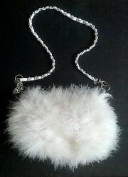 LUXURIOUS WHITE FAUX FUR FEATHER ANGORA MINK PURSE DESIGNER CROSSBODY BAG