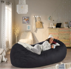 Giant Black Bean Bag Chair 8 FT Extra Large Adult Oversized Dorm Lounger Suede