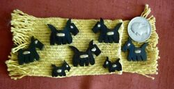 7 Vint WOOD CARVED SCOTTISH TERRIER DOGS for EMBELLISHMENT