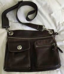 ROOTS Canada Brown Leather Crossbody Purse Bag-NICE