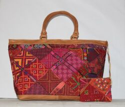 Indian banjara Embroidery Ladies Bucket Bag And Small Pouch Leather Strap HB1020