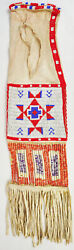 Beaded Souix Pipe Tobaco Bag Quill Vintage 1950s Native American Indian Sack