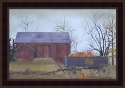 Pumpkin Wagon By Billy Jacobs Framed Picture 15x21 Farm Autumn Red Barn Seasons