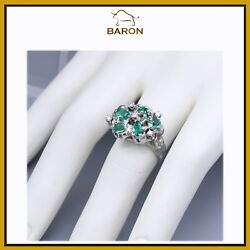Emerald Ring Vintage Cluster 14k White Gold Emerald Diamond Ring Size 7 Md26