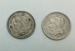 1866 And 1867 3 Cent Nickel Pair 2 Decent Collector Coins