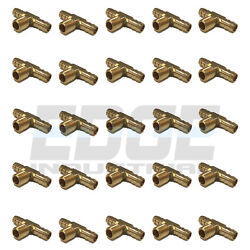 25 Pack 3/8 Hose Barb Tee X 1/4 Male Npt Brass Pipe 3 Way Fitting Fuel Water