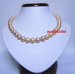Dhl Aaaa 18 '' 11-12 Mm Australia Pink Pearl Necklace 14k Gold Clasp