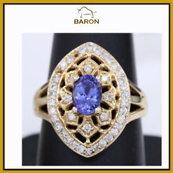 Victorian Tanzanite Ring 14k Yellow Gold And Diamonds Vintage Ring Size 8.25 Md52