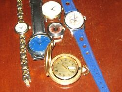 Lot Of Six Watches -- Bulova Accutron Yankees Fossil Sergio Uno