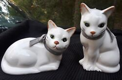 Set of 2 Vintage White Cat With Green Eyes Large Ceramic Figurines 6