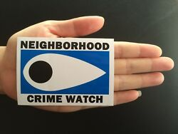 5 Neighborhood Crime Watch Vinyl Stickers Removable Low Glue No Residue 3.5X2.5