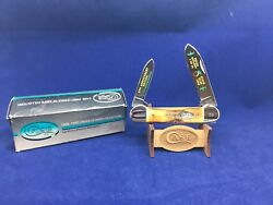 1987 Case Peach Cutlery Canoe Knife Fat Stag Handles Mint In Box - Ca01773 24