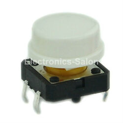 100pcs OMRON B3F-4055 Tactile Switch + A24 White KeyCap, 12x12x7.3mm, Momentary.