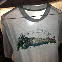 Vintage 80s Paper Thin Distressed Worn Oregon Mountain River State Park T Shirt