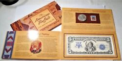 2001 U.s. American Buffalo Unc. Silver Dollar Coin Currency And Stamp Set