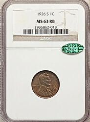 1926 S 1c Lincoln Wheat Cent Ngc And Cac Ms63 Rb Red Brown Tuff Date Pop 70