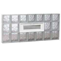 Privacy Glass Blocks Window Frameless Vented Wave Pattern Impact Resistant